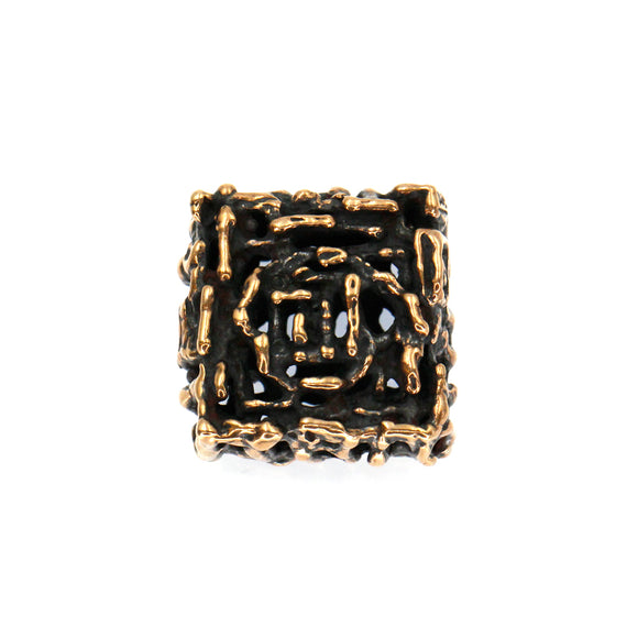 (bzbd174-8517) Handmade Textured Solid Bronze Square Bead