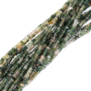 (mma009) Moss agate Barrels and Rondells