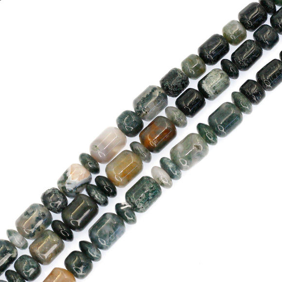 (agate009) 9mm Moss Agate Barrels and Roundels