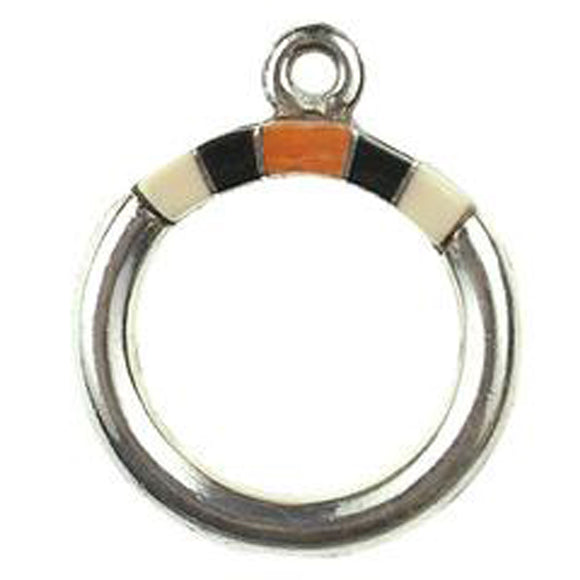 Melon Shell, Black & Spiny Oyster Inlay Toggle Ring