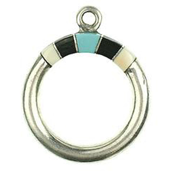 Melon Shell, Black & Turquoise Inlay Toggle Ring
