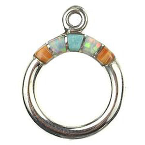 Spiny Oyster, Synthetic Opal & Turquoise Inlay Toggle Ring