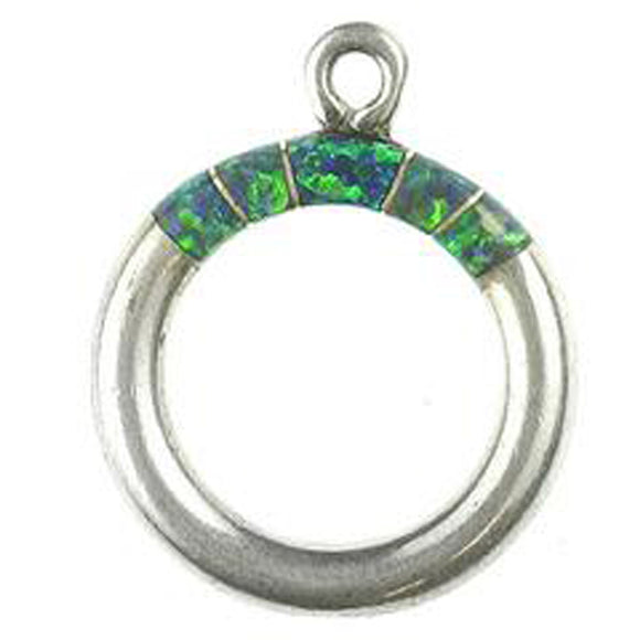 Synthetic Green Opal Inlay Toggle Ring