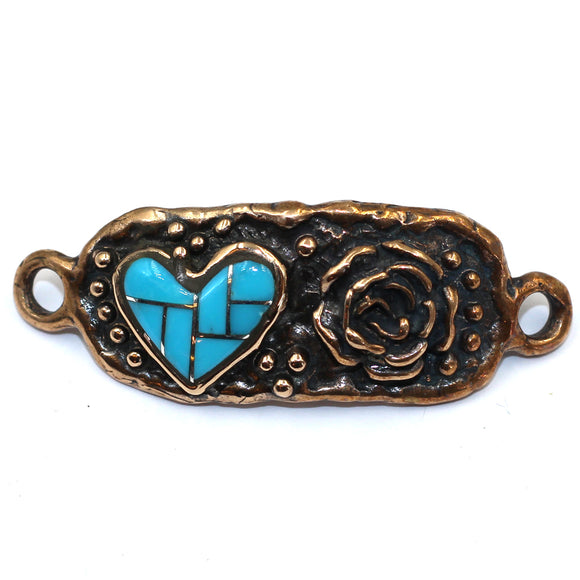 Bronze bracelet link with turquoise