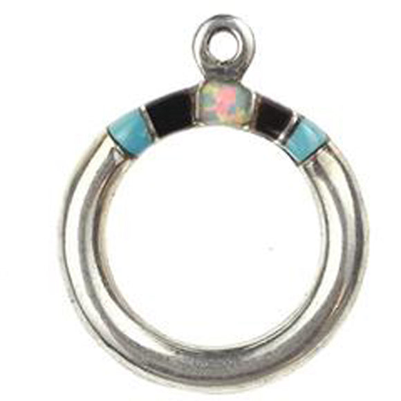 Turquoise, Black & Synthetic Opal Inlay Toggle Ring