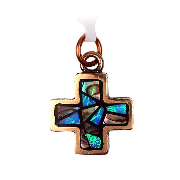 Bronze Cross With Abalone and Opal