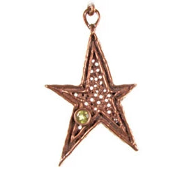 Solid Bronze SC 5pt Lg star w/colored stone