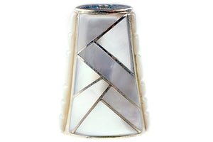 Inlay Cone 12 x 9 mm Pink Mussel and White Mother of Pearl