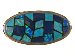 Box Clasp 5-strd Lapis, SB Turq and Synth Opal