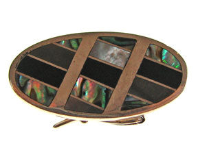 Box Clasp 5-strd Blk Lip Shell, Onyx and Abalone