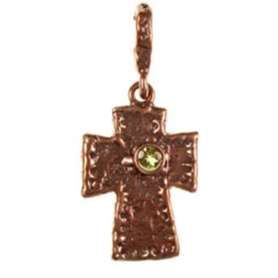 Solid Bronze Celtic style cross with a bezel set faceted stone. Available in Garnet, Amethyst, Peridot, Citrine and Blue Topaz