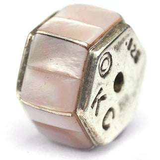 12 mm Hexagon Pink Lip Inlay Bead