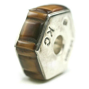 Inlay Hexagon 8 mm X 20 mm Tiger's Eye