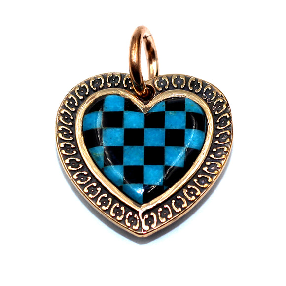 (bzp376-N0335S) Bronze Checkerboard Heart Pendant