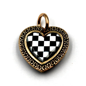 (bzp375-N0335S) Bronze Checkerboard Heart Pendant