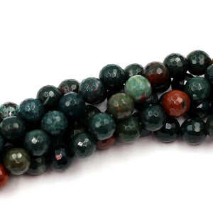 8mm Round Faceted Bloodstone