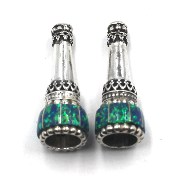 (IC005) Synthetic Blue Opal Inlay Cones