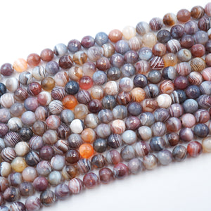 (bots001) 10MM Faceted Round Botswana Agate - Scottsdale Bead Supply