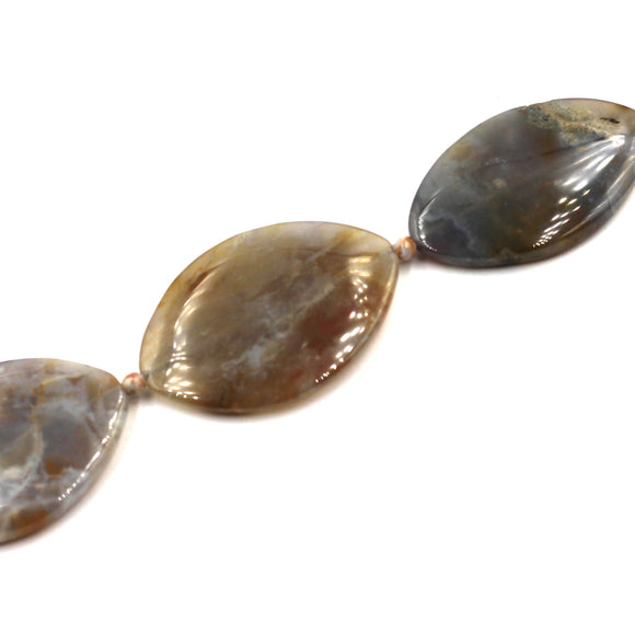 brown flower agate ovals