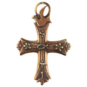 (bzp032-9717) Bronze Classic Cross with d�cor on front