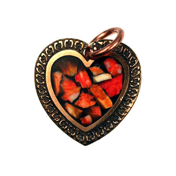 Bronze Heart Pendant with Spiny Oyster Inlay
