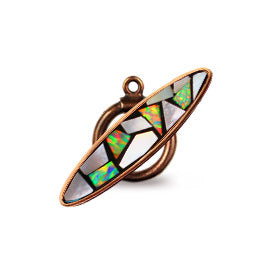 Bronze Inlay Toggle with MOP and Synthetic Opal