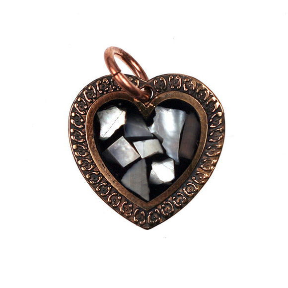 Bronze Heart Pendant With Mother of Pearl