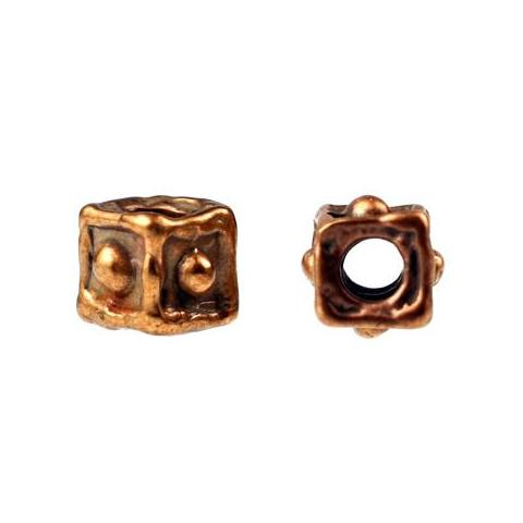 Bronze Dotted Cube Bead