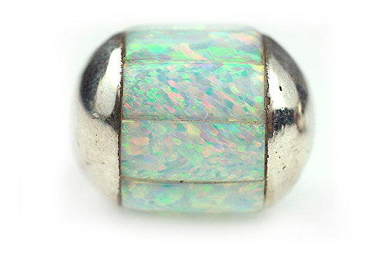 Inlay Round (no bars) 14 mm White Synth Opal