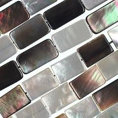 (blacklip005) 13x9mm Black Lip Mother of Pearl Rectangles - Scottsdale Bead Supply