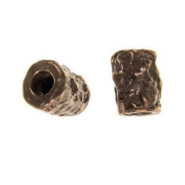 (bzbd100-9487) Bronze free form texture, short barrel bead - Scottsdale Bead Supply