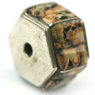 12 mm Hexagon Leopard Jasper Inlay Bead