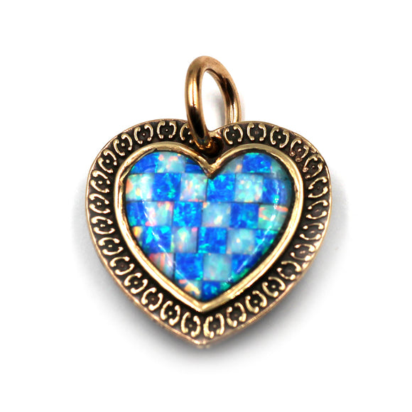 (bzp378-N0335S) Bronze Checkerboard Heart Pendant