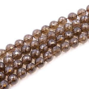 (qtz94)  16MM Round Faceted Smoky Quartz