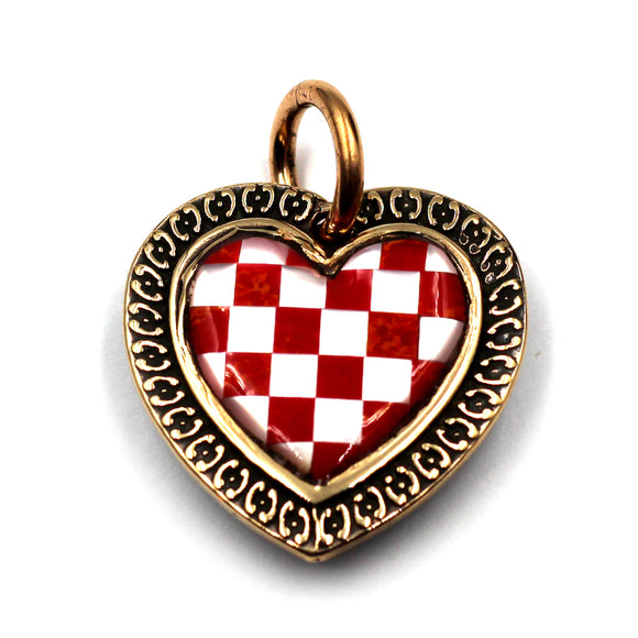(bzp377-N0335S) Bronze Checkerboard Heart Pendant