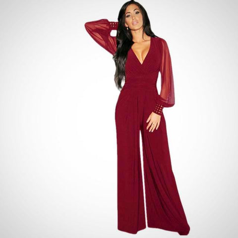 Mesh Sleeves Jumpsuit