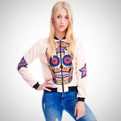 3D Candy Skull Printed Jacket - -ENC FASHION-
