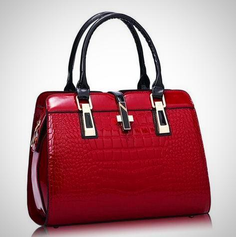 Elegant Alligator Patent Shoulder Bag - -ENC FASHION-