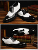 Genuine Leather Black and White Fretwork Pointed Toe