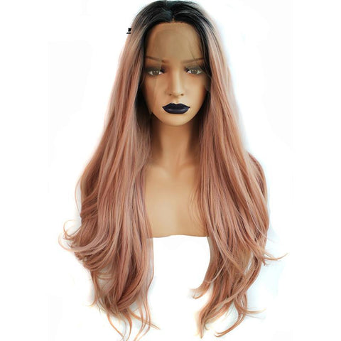 Long Pink Dark Roots Ombre Synthetic Wig