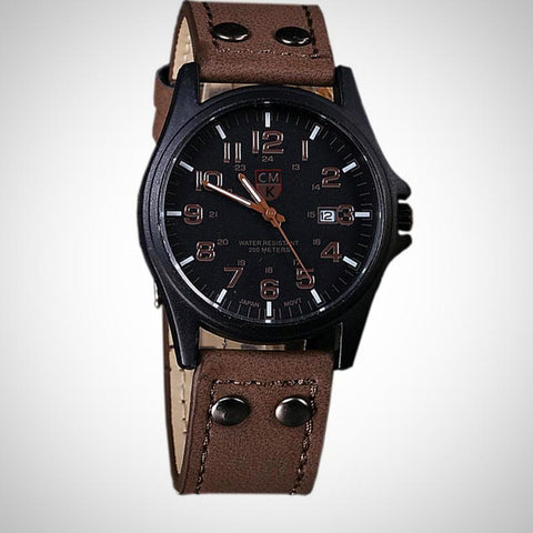 Leather Strap Men's Watch | -ENC FASHION-