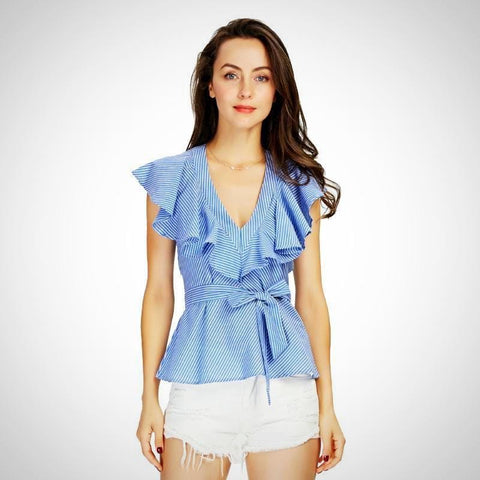 Strip V-Neck Ruffle Blouses | -ENC FASHION-