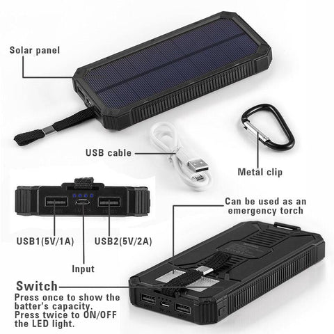 Solar Charger LED Lamp Solar Power Bank 15000mAh Rechargeable External Solar Battery