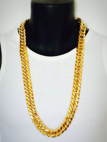 Miami Cuban Link Chain 24 k Yellow Gold Filled 10MM Thick Chain | -ENC FASHION-