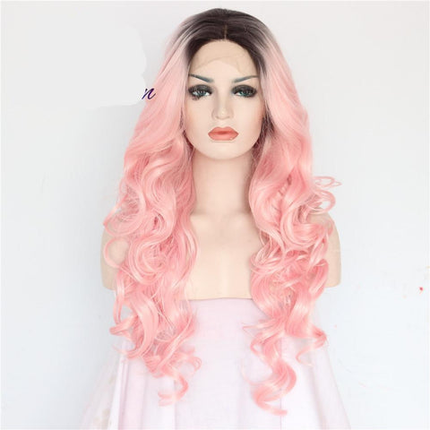 Pink Color Big Wave Synthetic Wig