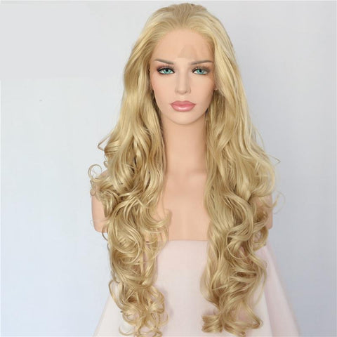 Platinum Blond Long Wavy Synthetic Lace Front Wig