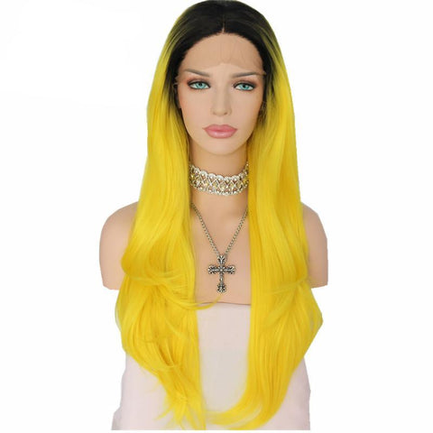 Black/Yellow Ombre Synthetic Wig