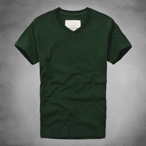 V-Neck Solid Color Short Sleeve T Shirt