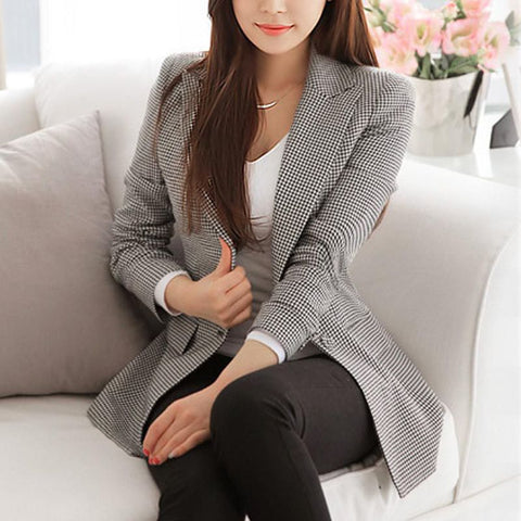 Plaid Long Sleeve Casual Blazer | -ENC FASHION-