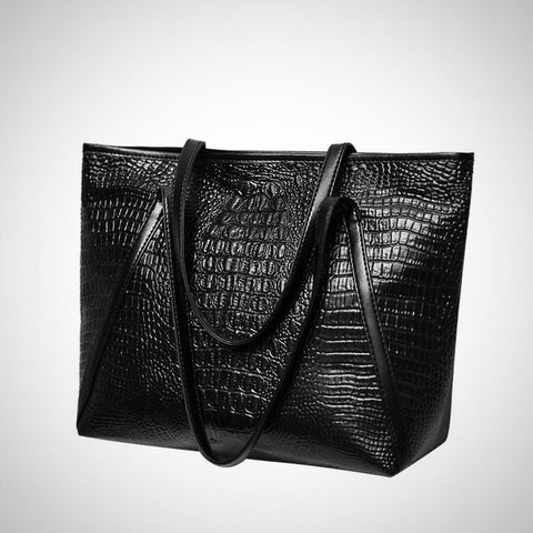 Large Alligator Leather Shoulder Bag